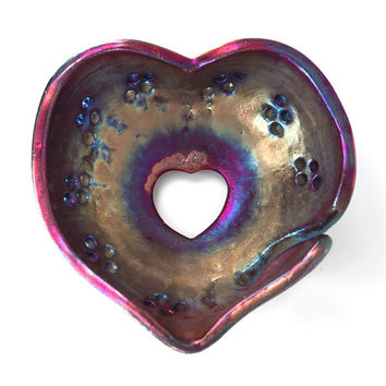 Barbie Pink Yarn Bowl Heart Shaped Raku Pottery AHENG Knitting Help Bowl Handmade Ceramic Knitting Accessories Knitting Bowl YB1336