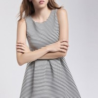 LUCLUC Black and White Striped Skater Dress - LUCLUC