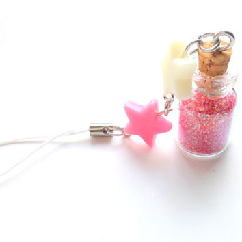 Cute pink glitter bottle charm with pink and white star beads, glass bottle phone charm, Magical girl,, fairy dust, Fairy kei, pastel