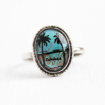 Morpho Butterfly Wing - Vintage Sterling Silver Blue Morpho Jamaica Ring - Size 5 3/4 Art Deco 1930s Oval Teal Tropical Souvenir 30s Jewelry
