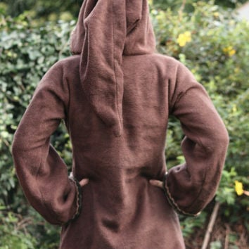 Elven tunic for women- Medieval tunic - SCA - Pixie hoodie -Psy hoodie- festival - pointy hood - hippie hoodie dress