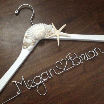 BEACH Wedding Dress Hanger, Starfish, Sea Shells, Bride Hanger, Name Hanger, Mrs Hanger, Wedding Hanger, Personalized Hanger