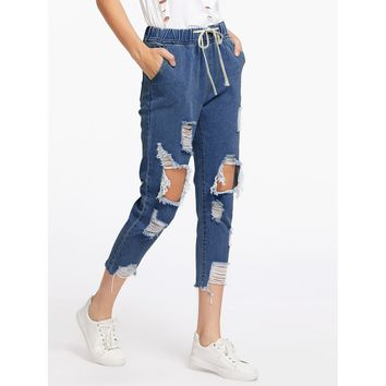 Buckle Up Distressed Crop Jeans - Blue