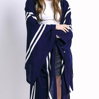 Navy Striped Knit Cardigan