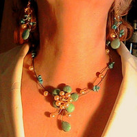 Turquoise & Pearls Set Jewels,Wire Wrap