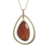 Carnelian Cat's Eye Gold Plated Sterling Silver Teardrop Pendant