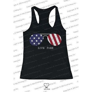 Red White and Blue Collection - Live Free Sunglasses Women's Tank Top