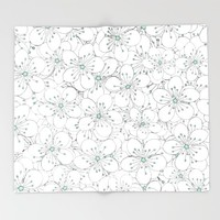 Cherry Blossom Mint Throw Blanket by Project M