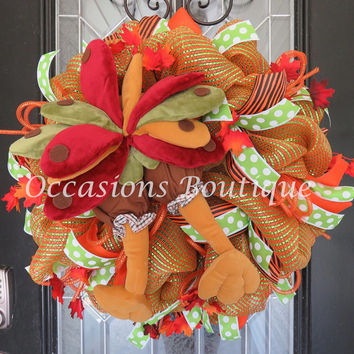 Last One! Fall Wreath, Thanksgiving Decoration, Door Hanger, Wreath for Door, Front door Wreaths, XL Wreath
