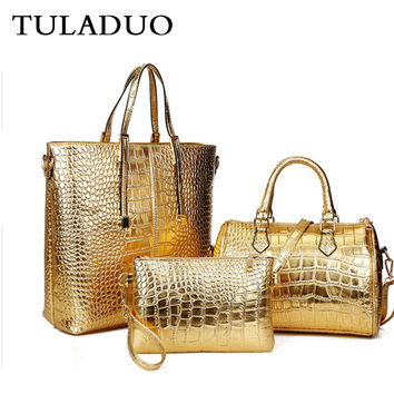 Tuladuo Woman Gold Luxury Composite Purse And Handbags Sac a Main Luxe Leather Messenger Bag Crossbody Ladies Brand Shoulder Bag