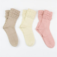 Ruffled Ankle Socks - Ivory, Mocha, Rose