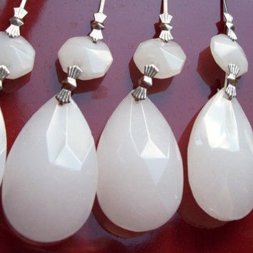 Set 5 Chandelier Crystal Ornaments Opaque White Teardrop Shabby Cottage Chic