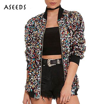 2017 autumn sequin bomber jacket women basic coats cardigan long Sleeve baseball jackets jaqueta feminina inverno winter fashion