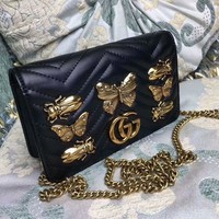 DCCKVQ8 Gucci' Women Fashion Genuine Leather Cowhide Metal Butterfly Insect Rivet Single Shoulder Messenger Bag Chain Small Square Bag