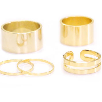 Shiny Cuff Ring Set - gold knuckle rings gold tube rings and gold midi rings cuff rings