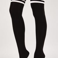 Striped Love Thigh High Socks