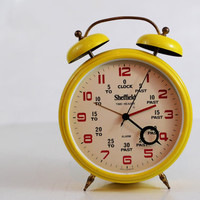 RARE Vintage Sheffield Time-Reader, Oversized Yellow Alarm Clock, Wind Up Clock, Made in West Germany