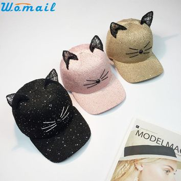 Womail Good Deal  2017 Trend Women Cat Ear Pattern Sequin Baseball Cap Snapback Caps Hip Hop Hats Sun Cap 1PC*23