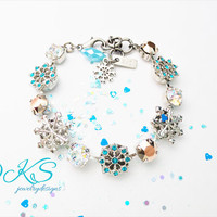 Winters Beauty, Swarovski Snowflake Bracelet, 12mm, Blue, Rose Gold, White Patina, Adjustable, DKSJewelrydesigns, FREE SHIPPING
