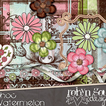 Digital Scrapbook Kit Clipart - Choc Watermelon - Spring Flowers