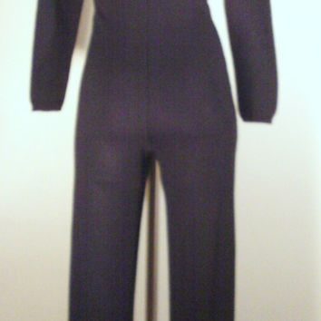 On Sale Vintage 1970's Sexy Disco Black Knit Jumpsuit ILGWU Label