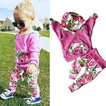 Floral Baby Girls Clothes Long Sleeve Sweatshirt +Pants Outfits 2PCS Hooded Clothes Set