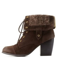 Brown Sweater-Lined Chunky Heel Lace-Up Booties by Charlotte Russe