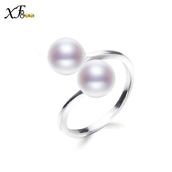 [XF800]Pearl Rings Real Fresh Water Pearl Jewelry Trendy White Black Rings Wedding Party For Women R19
