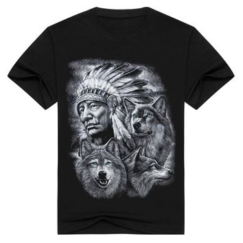 3d wolf t shirt mens Brand 3D Indians wolf Print t shirts Cotton wolves Men t-shirt Casual Man Tees Mens Tops