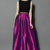 La Diva Pleated Maxi Full Skirt in Violet Purple