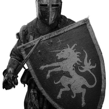 Medieval knight with sword and shield - Airbrushing stencil