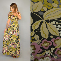 Vtg 70's BOTANICAL hippie bohemian gypsy 'Sundays Child' moody florals fitted MAXI DRESS, small