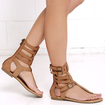 Roman Holiday Tan Gladiator Sandals