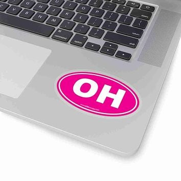 Ohio OH Euro Oval Sticker SOLID PINK