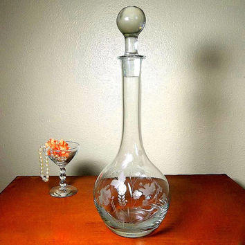 Vintage Mid Century Tall Wine Decanter clear etched decanter floral flower etching, solid glass stopper art glass bar ware wide bottom