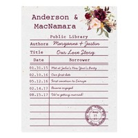 Marsala Boho Library Card Save The Date |