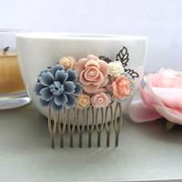 Vintage Style Collage Flower Hair Comb. Dusty Blue, Pink, Blue, Ivory Collage Hair Comb. Bridesmaids Gift, Wedding Comb. Cottage Wedding.