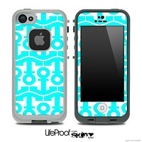 White and Turquoise Collage Skin for the iPhone 5 or 4/4s LifeProof Case