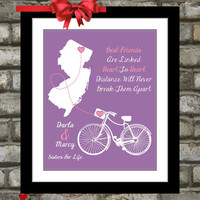 Gift for Best Friend: Unique Personalized Quote Art Map Popular Item Custom Gift