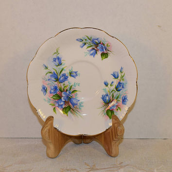 Royal Albert Blue Floral Saucer Vintage English Bone China Saucer Gold Rim Scalloped Plate Afternoon Tea Party Made in England