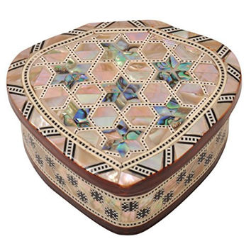 CraftsOfEgypt Egyptian Mother of pearl & Paua Shell Inlaid Jewelry trinket Box-Ring Box Heart Shape 4.3 x 3.9 inch ( 11 x 10 cm )