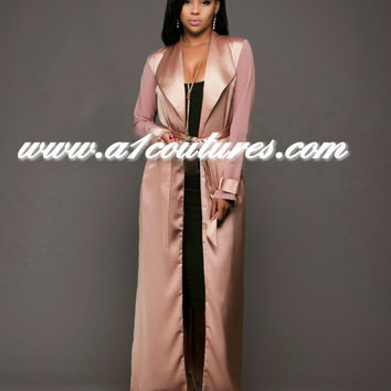 Neffi Satin Long Cardigan Jacket