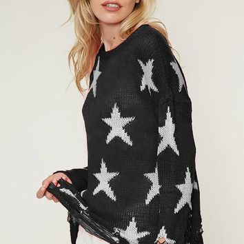 Starry Nights Distressed Sweater Top