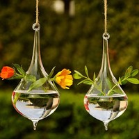 2017 Hot Clear Water Drop Glass Hanging Vase Bottle Terrarium Container Plant Flower DIY Table Wedding Garden Decor