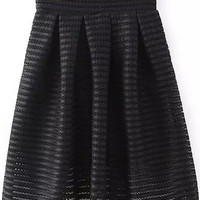 Black Sheer Mesh Striped Flare Skirt