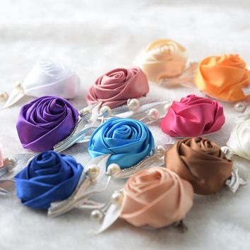 Silk Flower Man Corsage Groom Boutonniere Handmade Satin Ribbon Roses Wedding Party Prom Man Suit Corsage Pin Brooch S6207