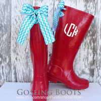 Custom Monogrammed Red Raspberry Rain Boot with Bows
