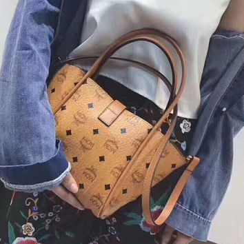 MCM Women Shopping Leather Handbag Tote Satchel Shoulder Bag Two-Piece H-A-GHSY-1