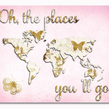 Pink gold nursery wall art word map baby girl room decor toddler artwork oh the places you 'll go poster butterflies decoration shower gift