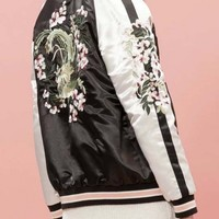 Trendy Reversible Floral Embroidered Color Block Baseball Jacket